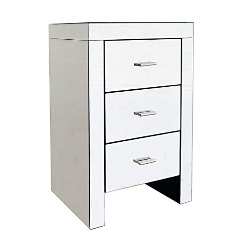 Charles Bentley 3 Drawer Contemporary Mirrored Bedside Table