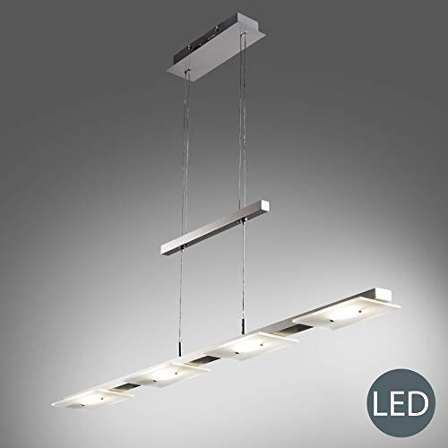 B.K.Licht Lampara LED de techo colgante de metal y cristal autentico, altura regulable, 4x4,5 W, 1600 lm, 3000 K, indice de proteccion IP20, color niquel mate