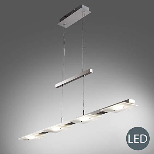B.K.Licht I LED Pendelleuchte I Höhenverstellbar I 4x4,5W LED Platinen I 1600lm I warmweiße Lichtfarbe I Echtglas Esstischlampe I Deckenlampe I Länge: 85cm