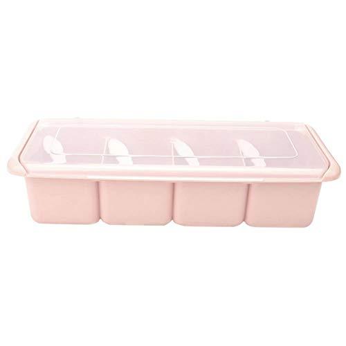 SUCIE 4 Compartimentos para condimentos, Caja de condimentos acrílicos, Pimiento Rojo en hojuelas, azúcar, Sal, mermeladas para Todo Tipo de condimentos Ajo granulado(Pink)