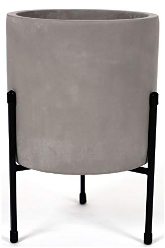Mid-Century Cement Planter with Stand Medium – Plant Stand with Pot for Indoors