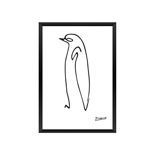 Picasso Abstrakte Poster Drucke Linien Zeichnen Tiere Leinwand Gemälde an der Wand für moderne Vogelkunst Bilder Wohnzimmer Dekoration, Standard, 10 x 15 cm ohne Rahmen
