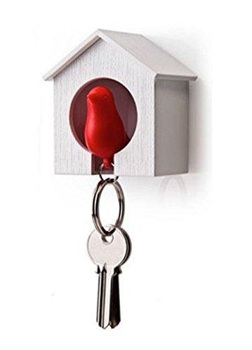 NO:1 einzigen Sparrow Vogelhäuschen Schlüsselhalter Ring - Weißen Haus mit roten Vogel