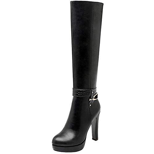 Lydee Damen Elegant Mid Top Stiefel Blockabsatz Hohe Stiefel Plateau Dress Lange Stiefel Büro Winterschuhe Heels Reißverschluss schwarz Gr 38