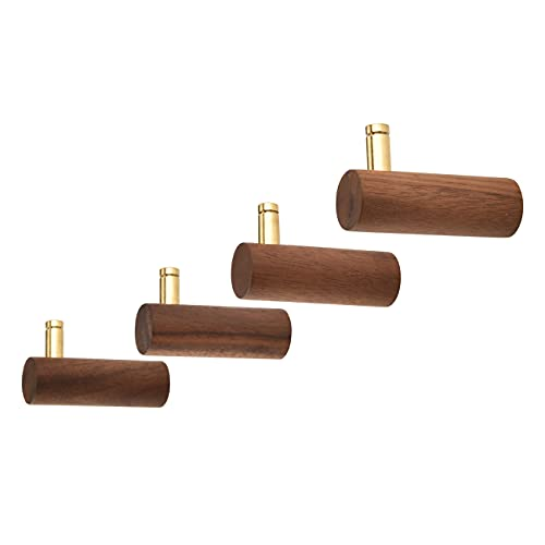 Homode Coat Hooks, Wooden Wall Hooks Heavy Duty, 4 Pack Decorative Wall Hanger with Gold Brass Peg, for Hanging Clothes, Robes, Hats, Backpack, Plant, Keys, Purses, Leash, Black Walnut