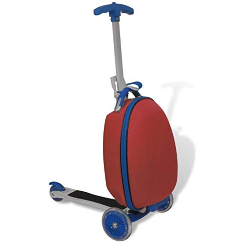 mewmewcat 3 Wheels Scooter Scooter with Trolley Case Children's Luggage Scooter Outdoor Travelling Suitcase Red
