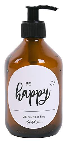 Lifestyle Lover, dispenser di sapone da 300 ml, in vetro marrone, color ambra, per sapone, shampoo, lozioni, Plastica Vetro, Be Happy 300ml