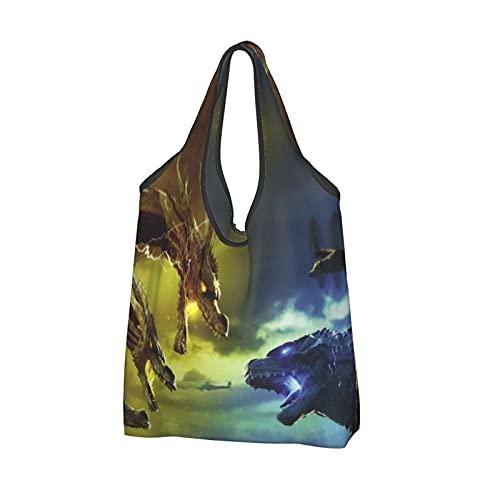 Go-Dzi-Lla extra stor shoppingväska återanvändbar hopfällbar shoppingväska baggies hållbara bärbara matkassar förvaring handväskor med långt handtag