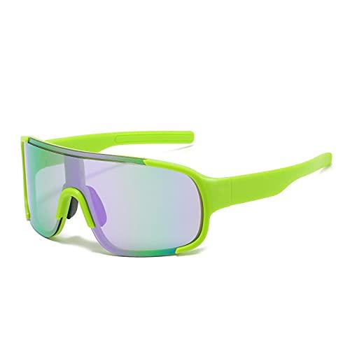 QWKLNRA Gafas De Sol para Hombre Montura Verde Lente Verde Gafas De Sol Deportivas Polarizadas Gafas De Sol para Montar A La Moda Gafas para Mujer Gafas para Hombre Gafas con Parte Superior Plana Wi