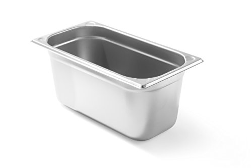Hendi Gastronormbehälter, Temperaturbeständig von -40° bis 300°C, Heissluftöfen-Kühl- und Tiefkühlschränken-Chafing Dishes-Bain Marie, Stapelbar, 5,1L, GN 1/3, 325x176x(H)150mm, Edelstahl, 806449