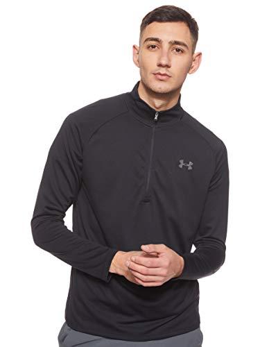 Under Armour Herren Tech 2.0 1/2 Zip sportliches Longsleeve, schnell trocknendes Langarmshirt für Männer, Schwarz (Black/Charcoal 001), Medium