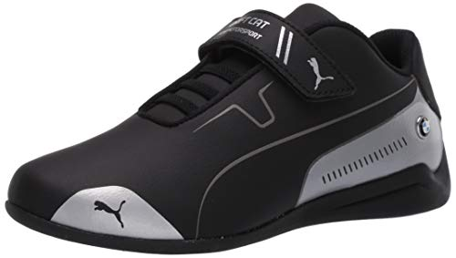 PUMA Unisex-Baby BMW M Motorsport Drift Cat 8 Hook and Loop Sneaker, Black Silver, 5 M US Toddler