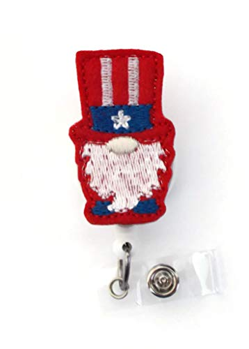 Patriotic Gnome Badge Reel - USA Badge Holder - Felt Badge Reel - Name Badge Holder - Name Tag Holder - Nursing Badge - Nurses Badge Holder - Patriotic ID (Alligator Swivel Clip)