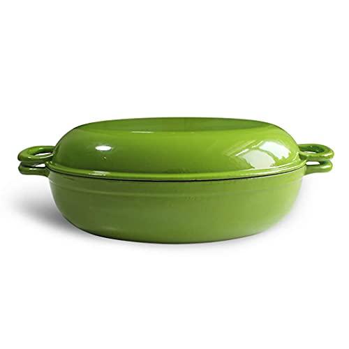 Guuisad 34 cm verde óvalo guiso olla olla maceta múltiple fritura olla de doble fijación cocina cocina cocina inducción cocina (tamaño: 13.9 pulgadas largo x 10,6 pulgadas de ancho x 3,5 pulgadas de a
