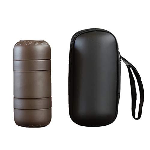 UPKOCH Juego de Tazas de Té de Viaje Portátil 4 en 1 Juegos de Té de Arcilla Púrpura Tetera de Kung Fu Chino con Bolsa para Oficina de Viajes (Filtro de Acero Inoxidable) (Cocina)