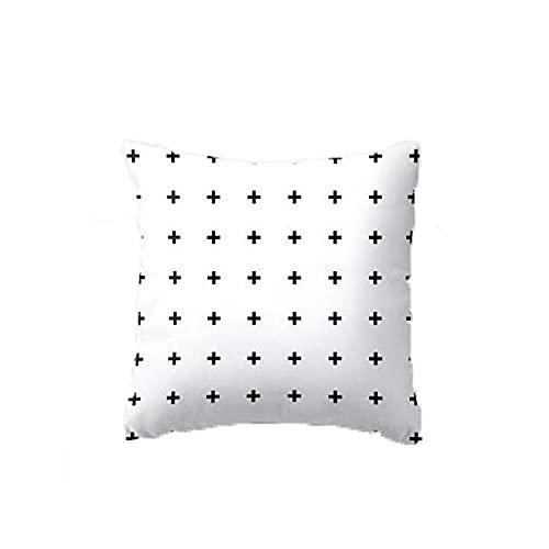 YANGYUAN Almohada de estilo literario simple cojín dormitorio sofá original de lona blanca pura almohada cuadrada funda de almohada 45 x 45 cm