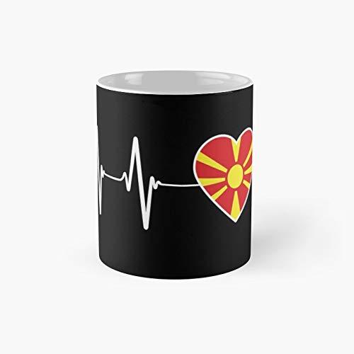 Macedonian Heartbeat I Love Macedonia Country Flag Heart Family Classic Mug 11 Oz.