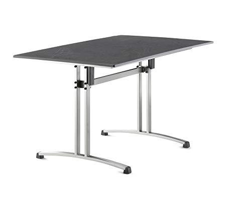 SIEGER 3460-50 Gastro-Klapptisch mit vivodur-Platte 120x80 cm, Stahlrohrgestell, Tischplatte Schieferdekor, Graphit/Schiefer anthrazit