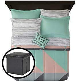 Grey & Teal 8 pc Bed in a Bag Bedding Set and Ottoman Bundle, King