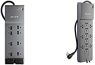 Belkin BE108230-06 8-Outlet Power Strip Surge Protector w/Flat Plug, 6ft Cord (3,550 Joules),Black & 12-Outlet Power Strip Surge Protector w/ 8ft Cord (3,940 Joules), Gray