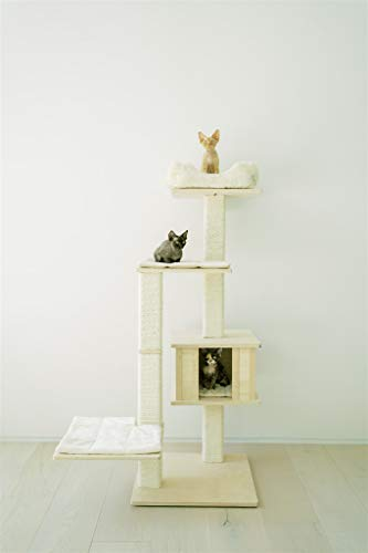PAWMONA 60' Multi-Level Sturdy cat Tree condo-Made with Durable Natural Birch Wood, Square-Shaped Scratching-Posts, Covered, Natural sisal-Machine Washable-Made in Georgia-Great Gift for Cat Lovers