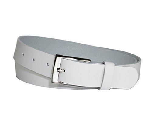 Vascavi Ledergürtel echt Leder, 3 cm breit und ca. 0.25 cm stark, Gürtel, Hüftgürtel, Jeansgürtel, Made in Germany (100 cm Gesamtlänge 110 cm, Weiß)
