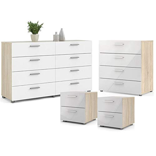 Home Square Contemporary Style 4 Piece Bedroom Set with Two Nightstands, 8 Drawer Double Dresser and 4 Drawer Chest in Oak and White Gloss