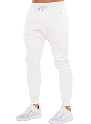Ouber Men's Gym Jogger Pants Slim Fit Workout Running Sweatpants with Zipper Pockets (M,White)