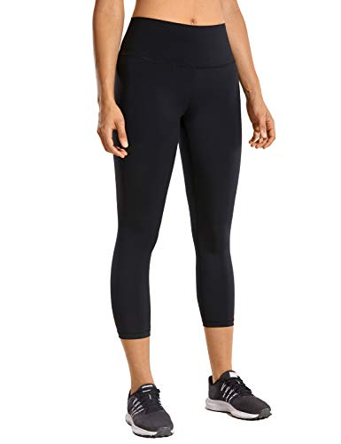 CRZ YOGA Mujer Compresión Mallas Largos Pantalones Deportivos Cintura Alta con Bolsillo-53cm Negro 38