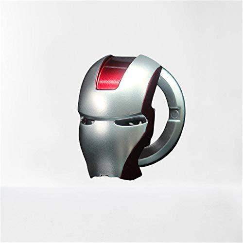 Iron Man 3D Animation Motor Start/Stop Botón Decorativo Botón Inicio Interruptor de Encendido Anillo de Aleación Antiarañazos Auto Motor Interruptor (Plata)