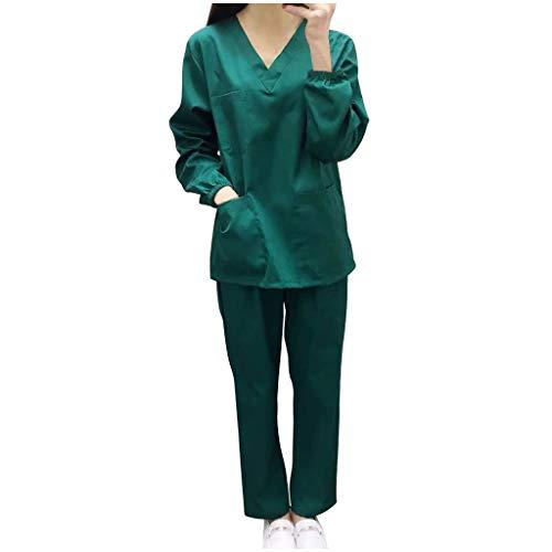 QIMANZI Unisex Medizinische Krankenpflege Uniform Baumwolle Schlupfkasack+Schlupfhose Kasack Set für Medizin Pflege Krankenhaus(Grün,S)