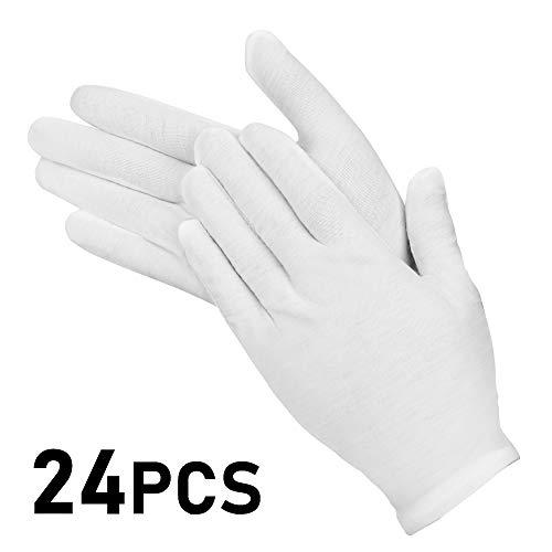 Molbory 12 Paar Weiße Handschuhe Baumwolle, Stoff Handschuhe Weiss, Care Baumwollhandschuhe, Bequem und Atmungsaktiv, für Hautpflege, Schmuck Untersuchen, Tägliche Arbeit usw