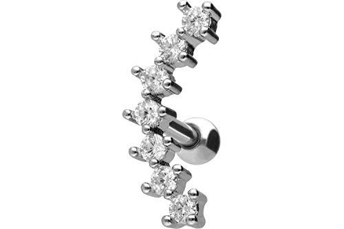 PIERCINGLINE Chirurgenstahl Ohrpiercing | 7 Kristalle | Piercing Schmuck Ohr Stecker Helix