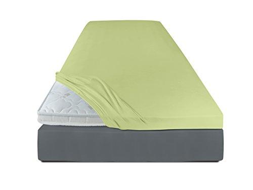 schlafgut Spannbetttuch für Topper in 19 ausgesuchten Farben oder Kissenbezüge erhältlich in 13 Farben, Spannbetttuch 120-130x200-220, lind