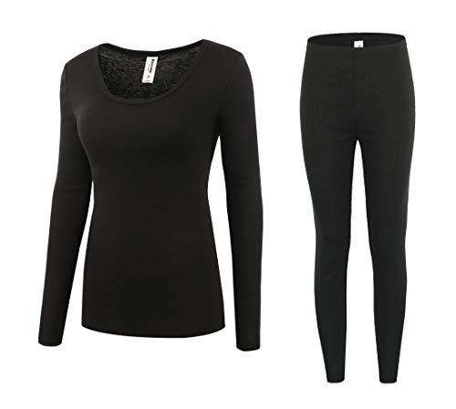 Bienzoe Women's High Tech Fiber Thermals Long Johns Tops & Pants Set M Black