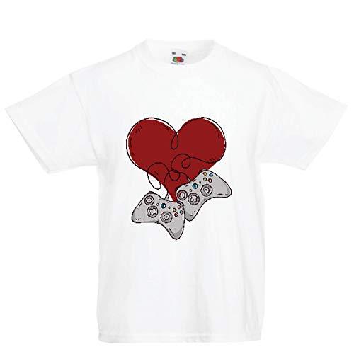 lepni.me Kinder Jungen/Mädchen T-Shirt Video-Spieler, Controller Herz (3-4 Years Weiß Mehrfarben)