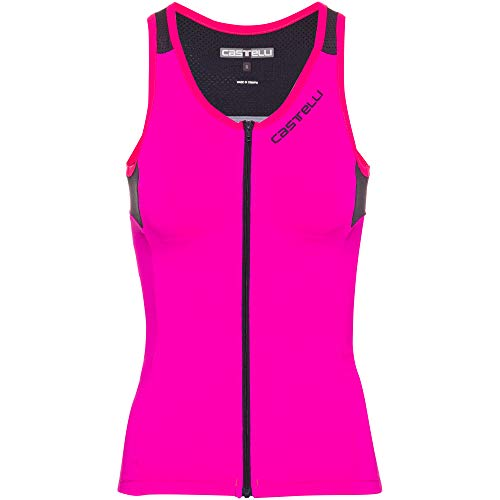 CASTELLI 4517064-022 Solare Top Damen Sport-BH Pink Neon/Dark Steel Blue M