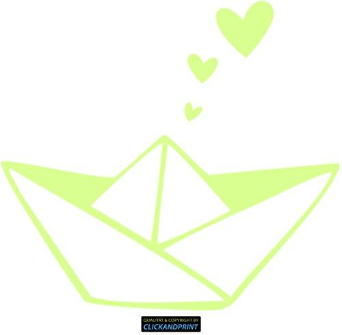 CLICKANDPRINT Aufkleber » Papierschiff mit Herzen, 190x47,0cm, Nachleuchtfolie Oralux • Dekoaufkleber / Autoaufkleber / Sticker / Decal / Vinyl