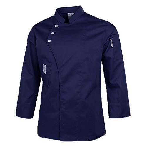 freneci Chaqueta de Chef para Hombre Y Mujer Abrigo de Manga Larga Camisa de Camareros Uniformes de Cocina de Hotel - Azul oscuro, XXL