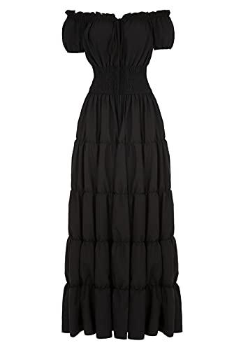 Haorugut Women Renaissance Medieval Irish Costume Over Dress Smocked Waist Retro Gown Cosplay Black L