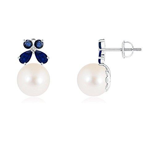 Cyber lunes–agua dulce perla cultivada de solitario pendientes con zafiro mariposa