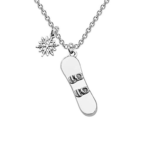 CENWA Snowboarder Gift 3D Snowboard and Snowflake Pendant Snowboarding Necklace Snowboarder Team Gift (Necklace)