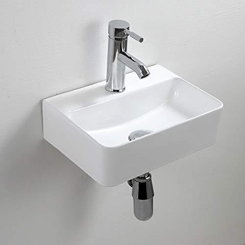 Lavandino rettangolare in ceramica bianca per vasca da bagno, montaggio a parete, per piccolo guardaroba, bagno, 365 x 255 x 100 mm
