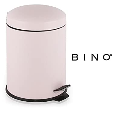 BINO Stainless Steel 1.3 Gallon / 5 Liter Round Step Trash Can (Matte Pink)