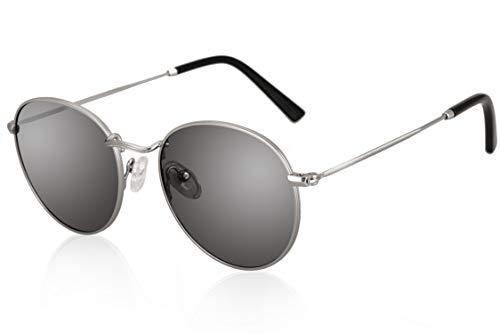 fawova Gafas Retro Redondas Mujer Plateado Polarizadas, Gafas De Sol Vinatage Homber con Espejo Plateado Claro para Cara Pequeña, 100% UV400 Cat.3 50mm (Plata, Espejo Plateado Claro)