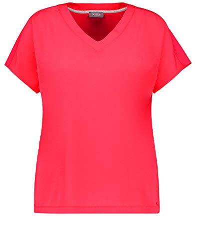 Samoon Damen Shirt mit Material-Mix leger Bright Rose 48