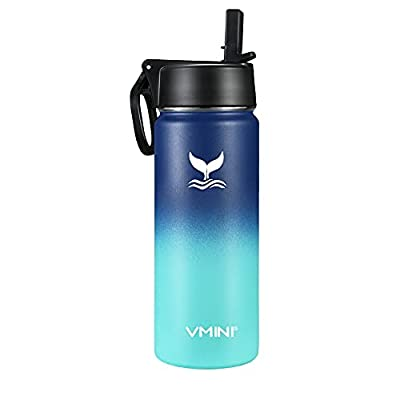 Vmini Water Bottle with New Wide Handle Straw Lid, Wide Mouth Vacuum Insulated 18/8 Stainless Steel, 12/18/24/32/40/64 oz