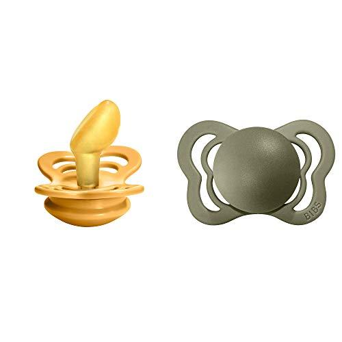 BIBS Schnuller Couture 2er Pack, Naturkautschuk, dänische Schnuller mit anatomischer Form. (Honey Bee/Olive, Größe 1 (0-6 Monate))