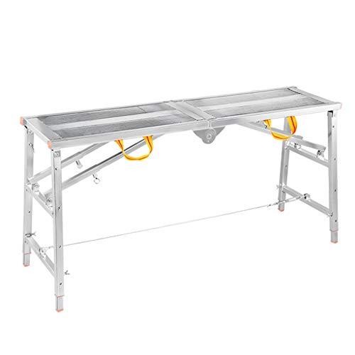 Werkplatform Huishoudelijke Hoge belasting Vouwen Draagbare Werkbank Binnen Reiniging Raam Klimmen Project Ladder 180*30*90-150cm ZILVER