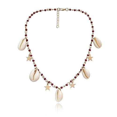 N\O Collar de Cuentas de Colores Bohemios Collar Declaración de Mujer Concha Natural Cobre Estrella Colgante Collar Joyería